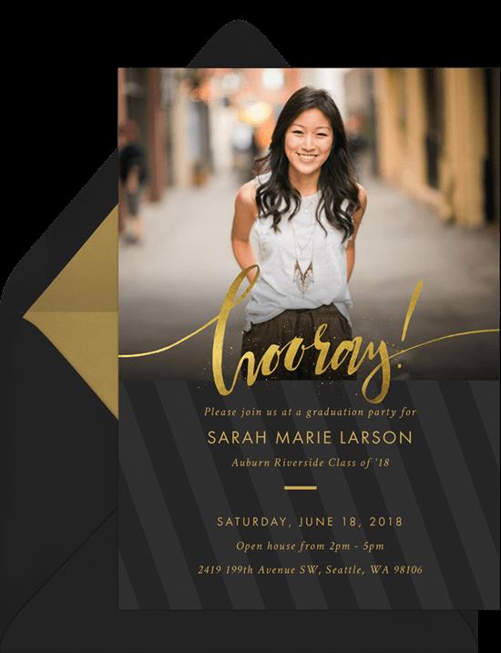 An elegant, black and gold graduation party invitation