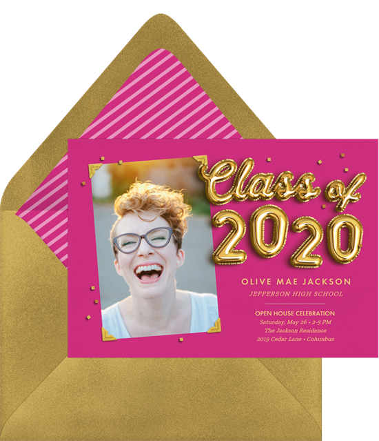 A brightly colored graduation party invitation with gold balloon graphics