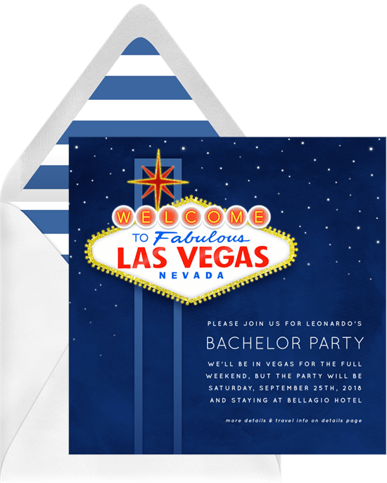 Bachelor party ideas: An invitation to a Las Vegas trip
