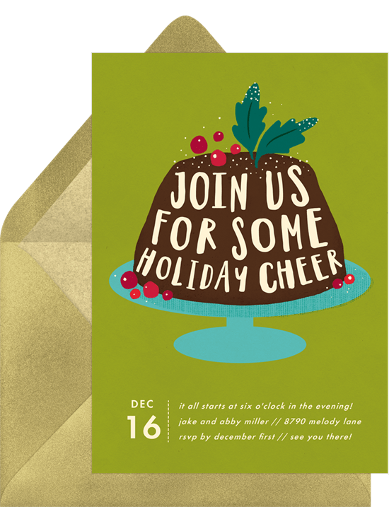 Holiday cheer invitation for Christmas party games by Greenvelope.