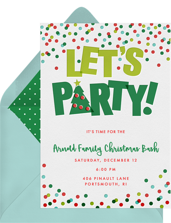 Let's Party invitation for Christmas party games from Greenvelope.