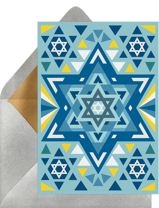 Hanukkah party ideas: An invitation designed to look like a Star-of-David stained-glass window
