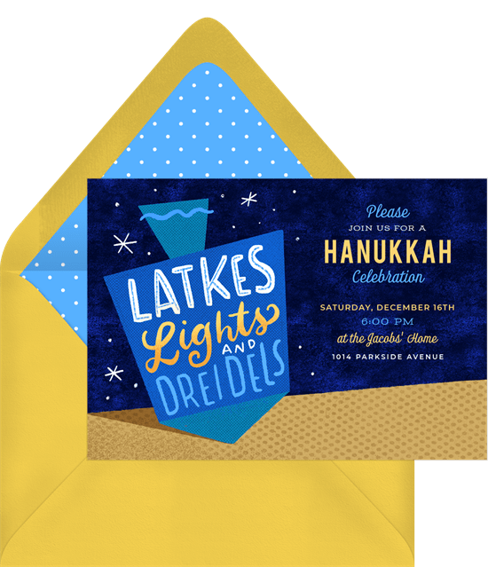 "Hanukkah party ideas: A Hanukkah party invitation that reads ""Latkes, Lights, and Dreidels"""