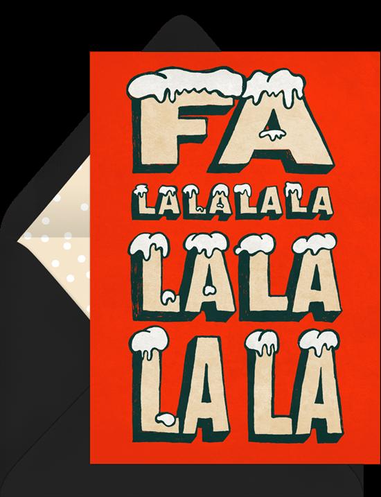 Company Christmas party ideas: A Fa La La invitation