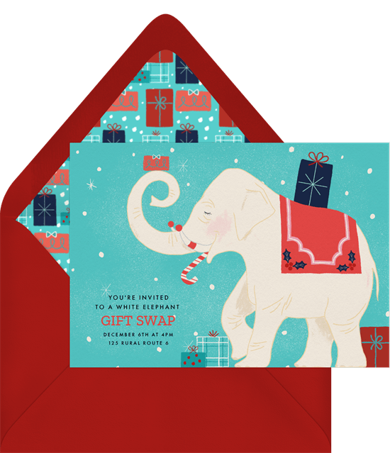 Company Christmas party ideas: An invitation to a white elephant party