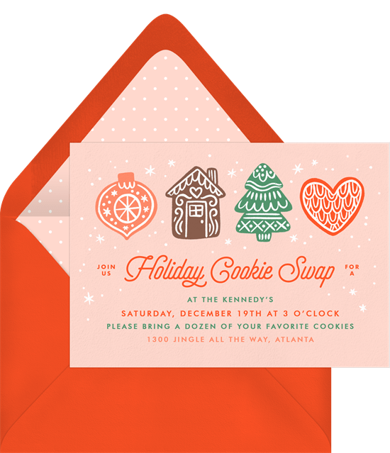 Company Christmas party ideas: A holiday cookie swap invitation