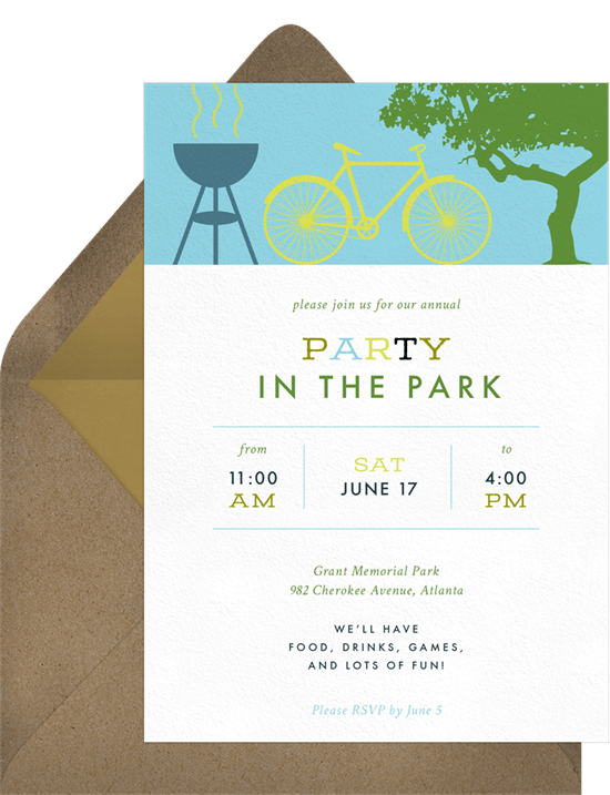 outdoor party games: party in the park invitation