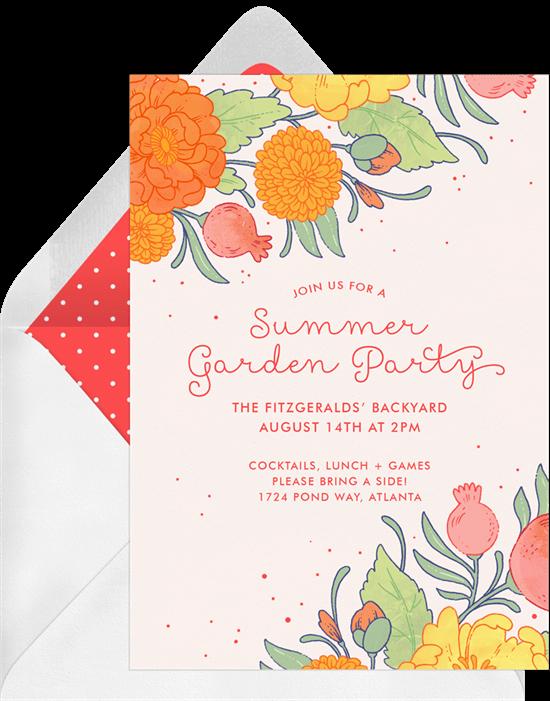 outdoor party games: summer garden party invitation