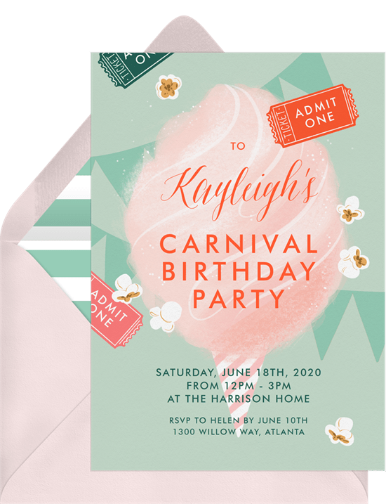 outdoor party games: carnival birthday party invitation