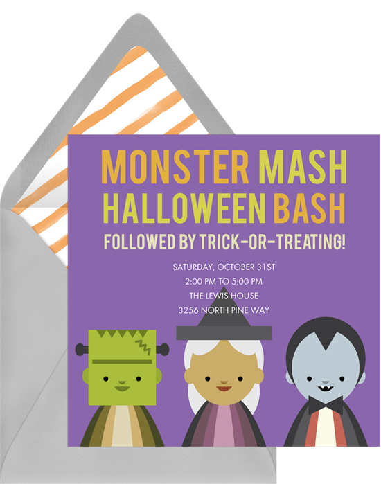 Monster mash invitation for a halloween party
