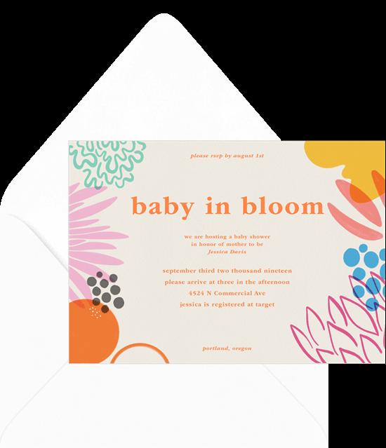 Baby shower invitation wording: Baby In Bloom