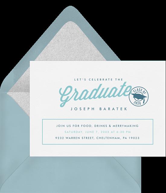 Graduation party games: Light blue invitation design