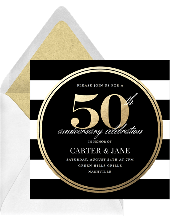 50th wedding anniversary invitations: Black and gold