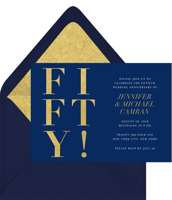 50th wedding anniversary invitations: Blue and gold