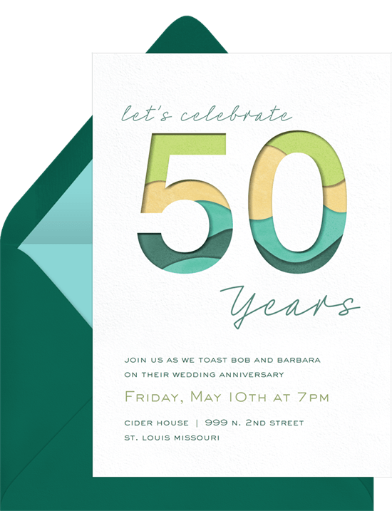 50th wedding anniversary invitations: Shades of green