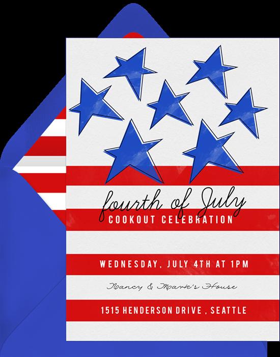 4th of July party ideas: patriotic jello shots invitation from Greenvelope