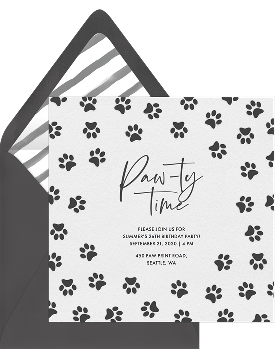 dog birthday party: paw prints invitation by Greenvelope