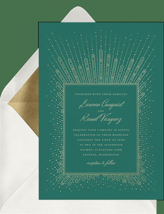 Art Deco wedding invitation: Pearl Starburst Invitation from Greenvelope