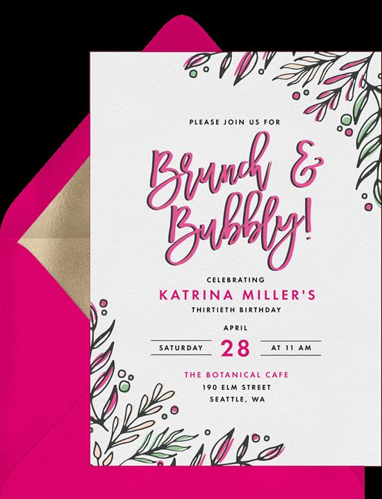 brunch & bubbly wedding invitation from Greenvelope