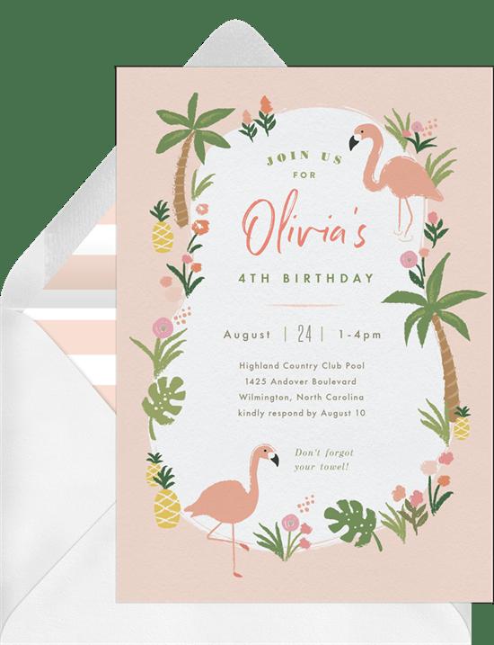 Flamingo Luau Invitation from Greenvelope