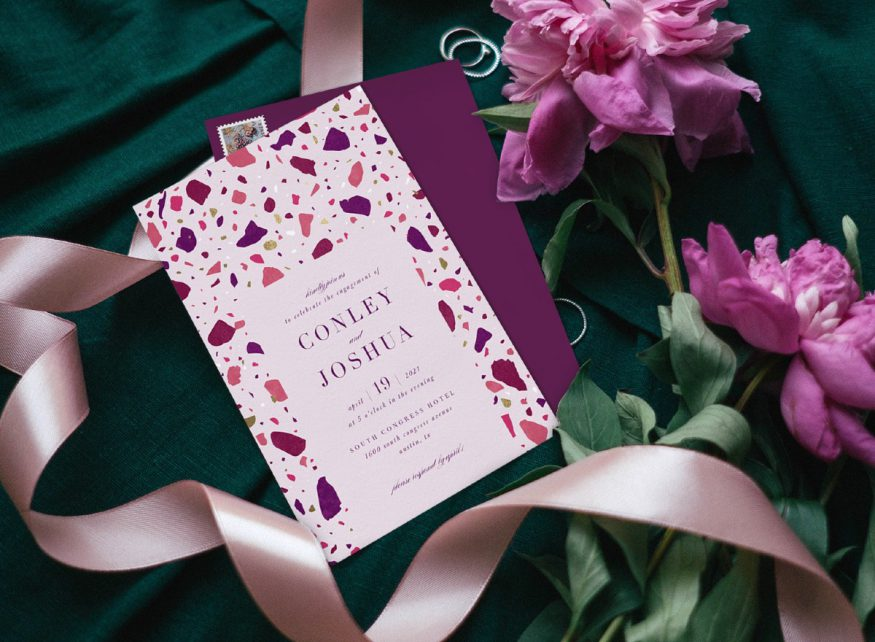 engagement party invitation wording: pink and purple themed invitation