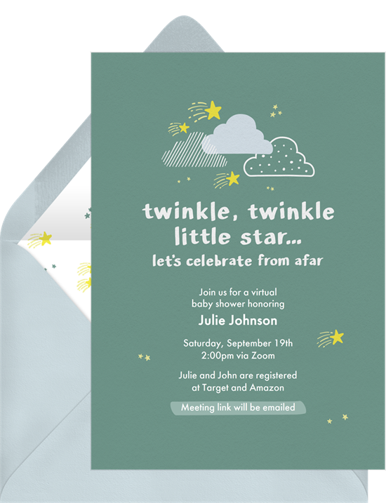Baby shower ideas: A Twinkle, Twinkle Little Star invitation for a nursery rhyme-themed shower
