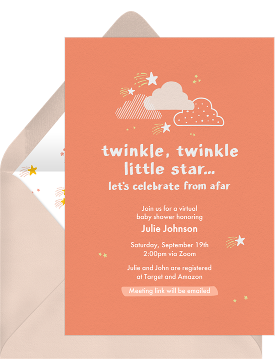 Online baby shower invitations with clouds and stars