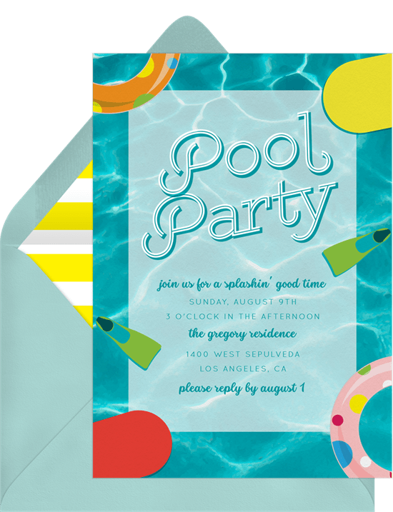Labor Day party idea: Pool Party Classics Invitation from Greenvelope