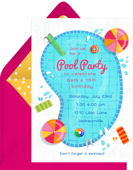 teen birthday party ideas: pool party invitation from Greenvelope