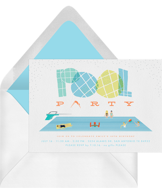 summer party ideas: tropical pool party invitation from Greenvelope