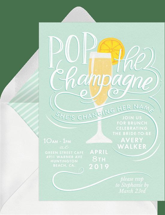 bridal shower invitations: pop the champagne invitations