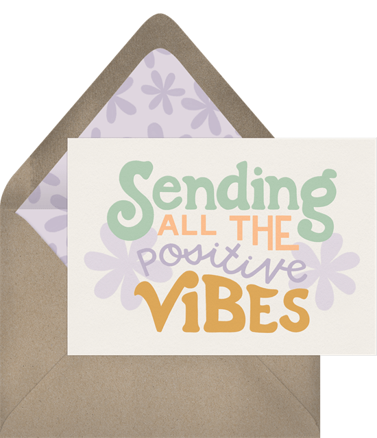 "Just Because card featuring groovy florals and mod typography reading ""Sending all the positive vibes"""