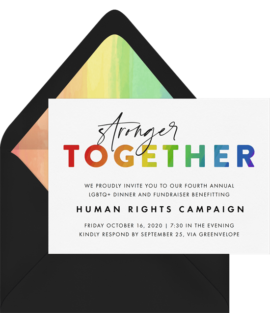 celebrating Pride: fundraiser for LGBTQ+ human rights campaign invitation from Greenvelope
