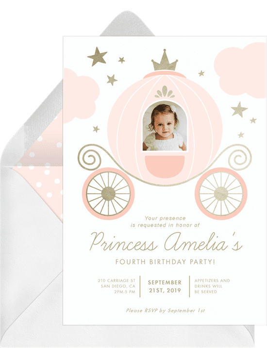 A formal invitation for a princess-themed birthday with a carriage and crown