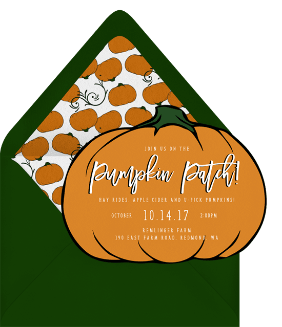 Halloween party invitations laser cut in the shape of a pumpkin