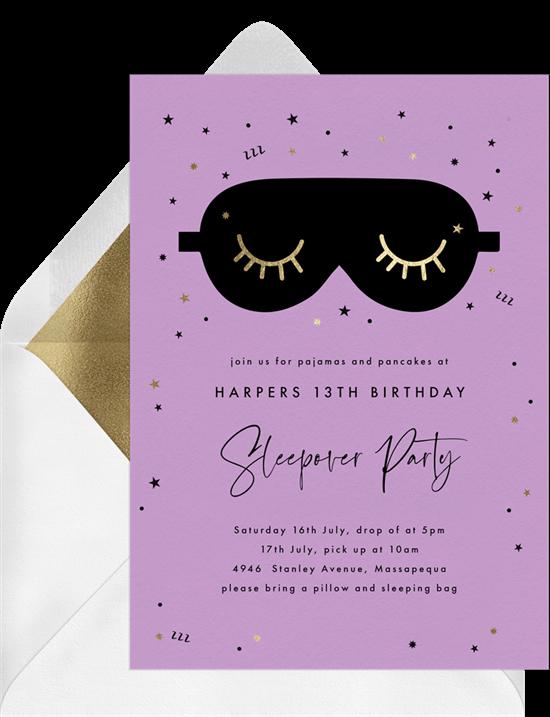 slumber party ideas: purple sleepover party invitation from Greenvelope