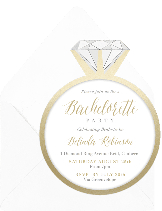 Bachelorette party ideas: A classic invitation shaped like an engagement ring