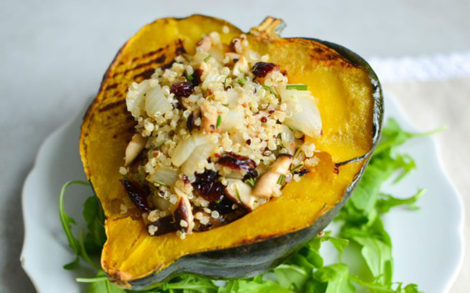 Non-traditional thanksgiving dinner ideas: Quinoa mushroom stuffed acorn squash