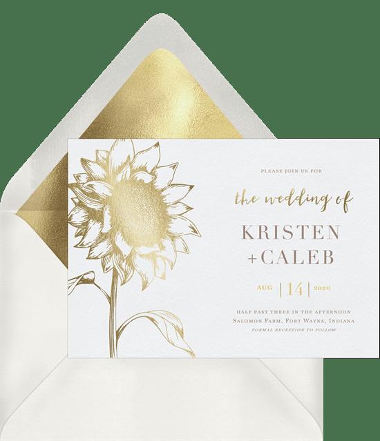 fall wedding invitations: Quintessential Sunflower Invitation from Greenvelope