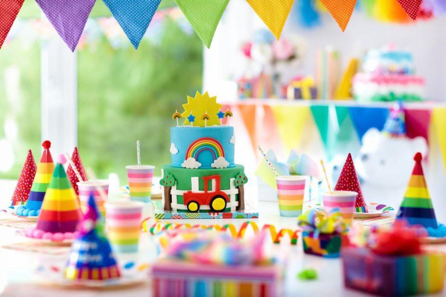 Rainbow birthday party themed setup