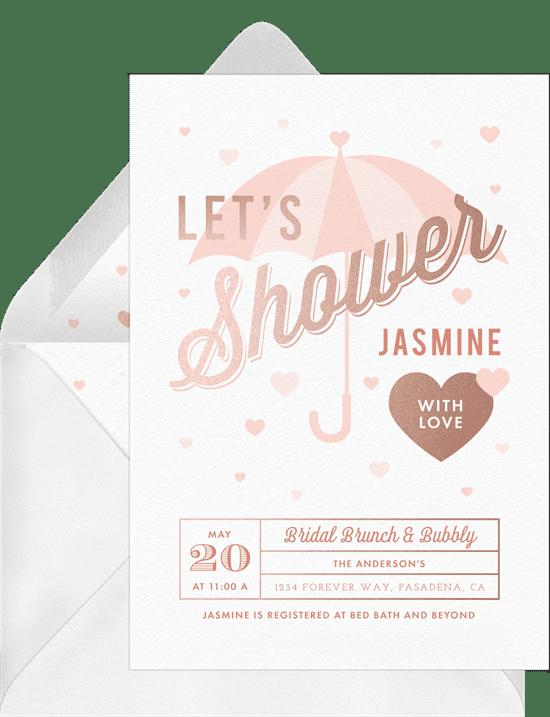 Bridal shower invitations: raining hearts invitations