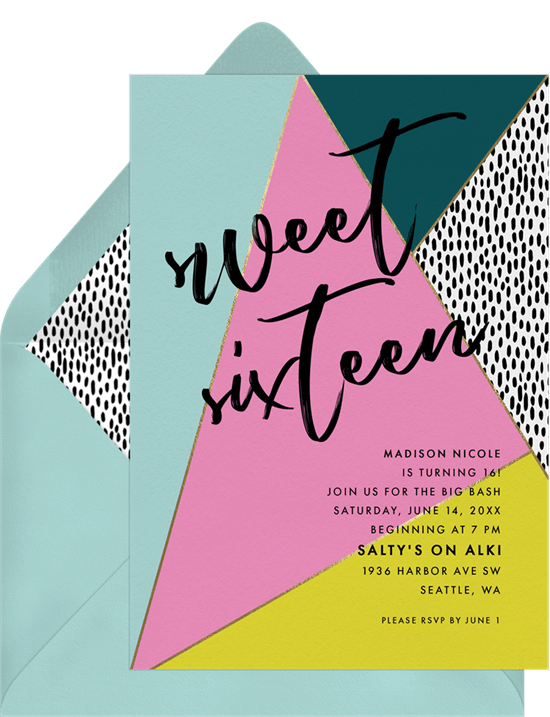 sweet 16th invitation wording: retro themed sweet 16 invitation from Greenvelope
