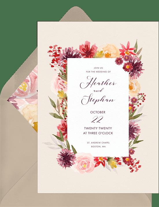fall wedding invitations: Rich Fall Florals Invitation from Greenvelope