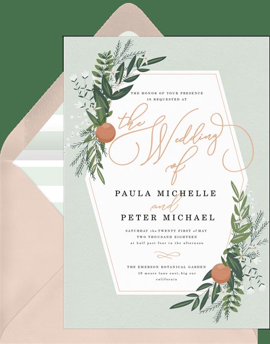 fall wedding invitations: Rustic Citrus Invitation from Greenvelope