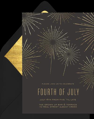 Shimmery Fireworks Invitation by Greenvelope