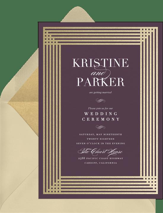 Art Deco wedding invitation: Simple Art Deco Invitation from Greenvelope