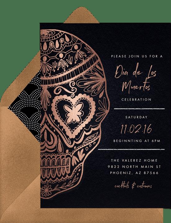 Dia de los Muertos invitations with a rose gold sugar skull
