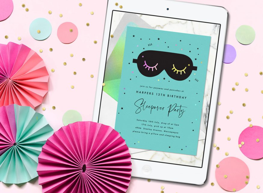 sleepover invitations: sleepover party invitation from Greenvelope displayed on a tablet