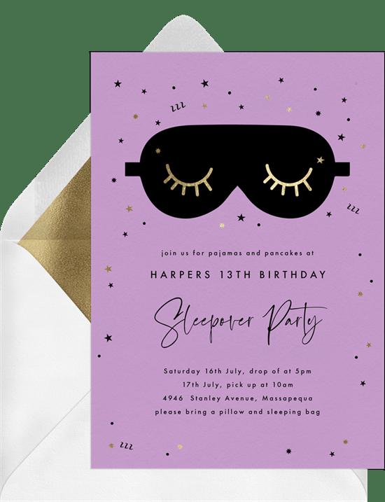 teen birthday party ideas: sleepover party invitation from Greenvelope