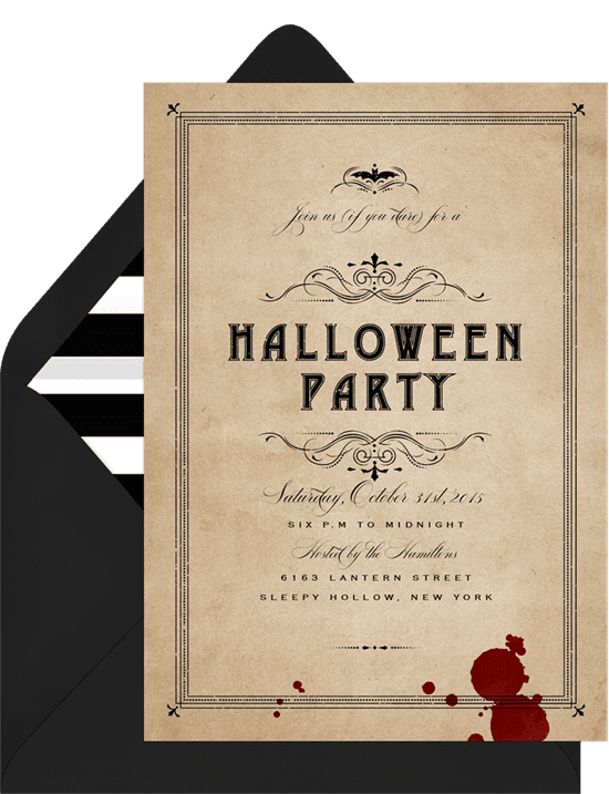 Halloween party invitations with a blood splatter